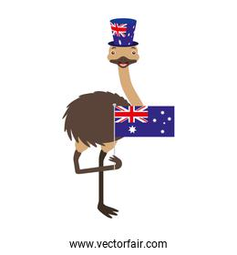 emu with hat australian flag celebration