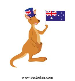 kangaroo with  hat australian flag celebration