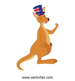 kangaroo with  hat australian flag