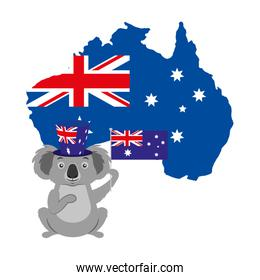 koala with hat australian flag map