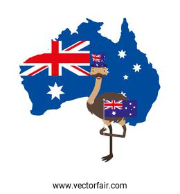 emu with hat australian flag map