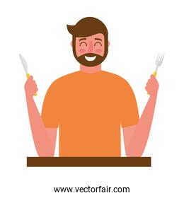 beardded man holding fork and knife