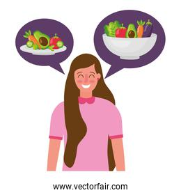 woman talk bubble vegetables healthy food