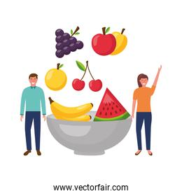 woman and man fruits in bowl