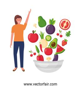 woman with fruit and vegetable bowl healthy food