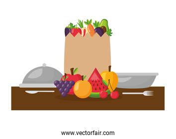 healthy food grocery bag fruits vegetables plate