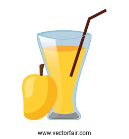 mango juice cup with straw