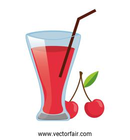 cherry juice cup with straw