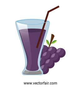 grapes juice cup with straw