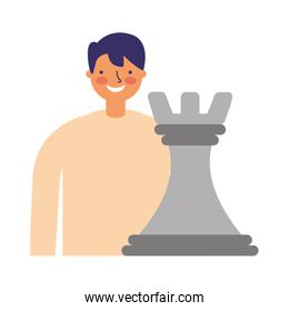 businessman with chess piece strategy