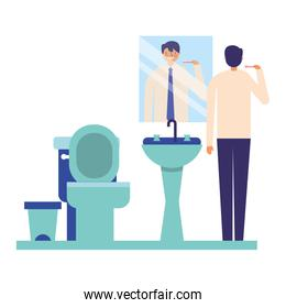 man with toothbrush in the bathroom
