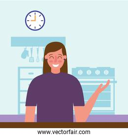 smiling woman in the kitchen