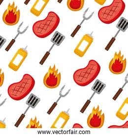 barbecue meat fork spatula mustard background