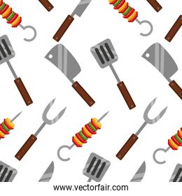 barbecue knife spatula fork and kebab background