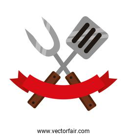 fork and spatula on white background