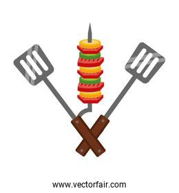 skewer with spatulas barbecue