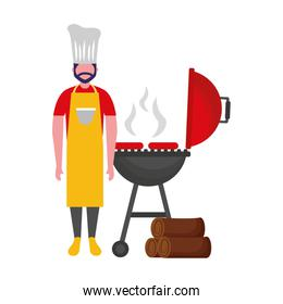chef man withbarbecue grill sausages