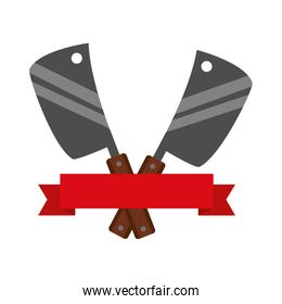barbecue knives utensils emblem