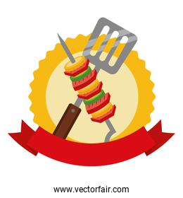 barbecue kebab and spatula emblem
