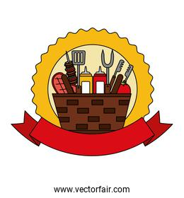 wicker basket barbecue sauces kebab meat