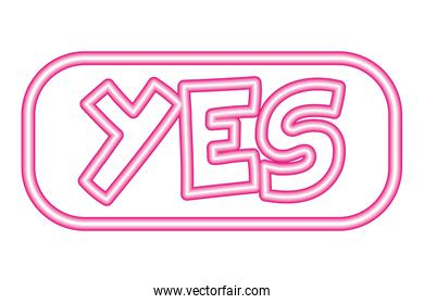 yes button neon white background