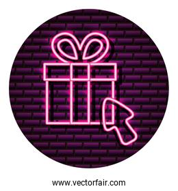 gift box shopping arrow neon brick wall