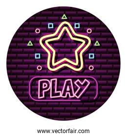 play star button neon video game wall