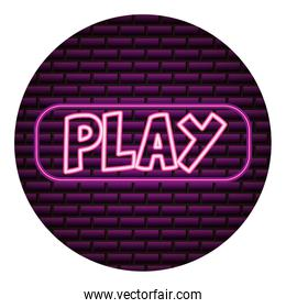 play button neon video game