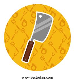meat cleaver on yellow background
