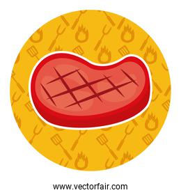 meat steak on yellow background