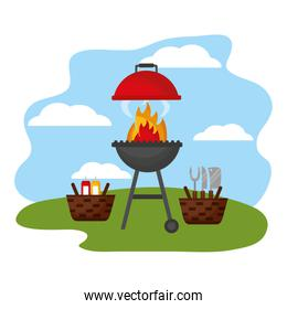 wicker baskets barbecue picnic