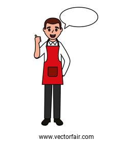man wearing apron chef text bubble