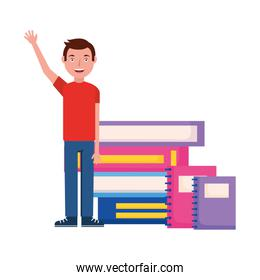 student man hand up with books