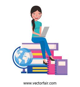 student woman with laptop books and school globe