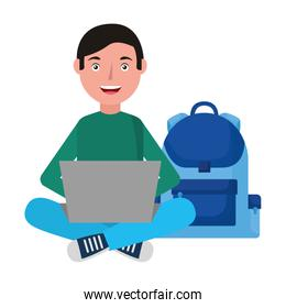 man with laptop and backpack school