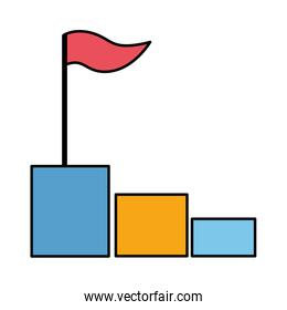 business chart bar with flag