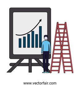 businessman with presentation board chart and stairs