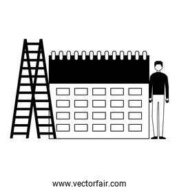 businessman stairs and calendar business