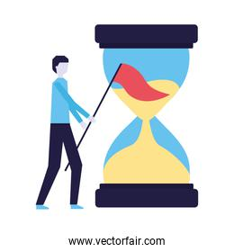 businessman with flag and hourglass time