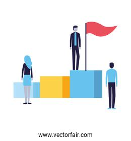 business people on stand with flag