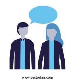 man and woman talking speech bubble isolated icon