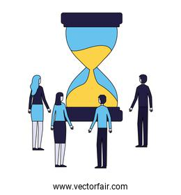 business people with hourglass time