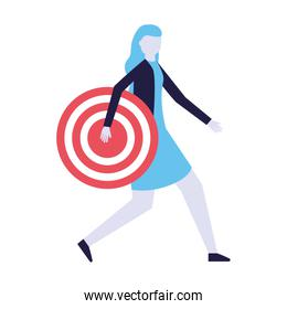 business woman holding target