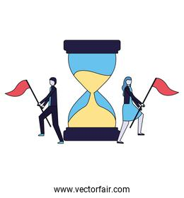 businessman and woman with flags and hourglass
