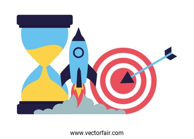 business target rocket and hourglass
