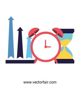 business alarm clock hourglass and arrows up