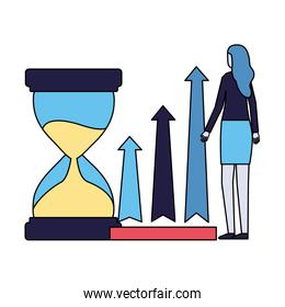 business woman with hourglass and arrows