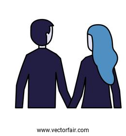 man and woman holding hands back view