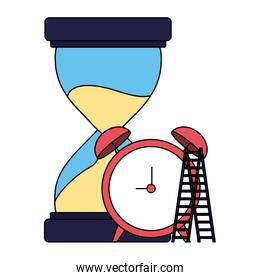 business hourglass clock and stairs