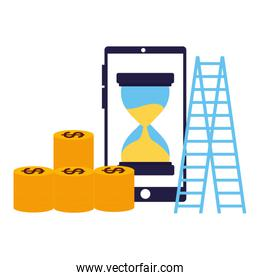 business smartphone coins stairs clock